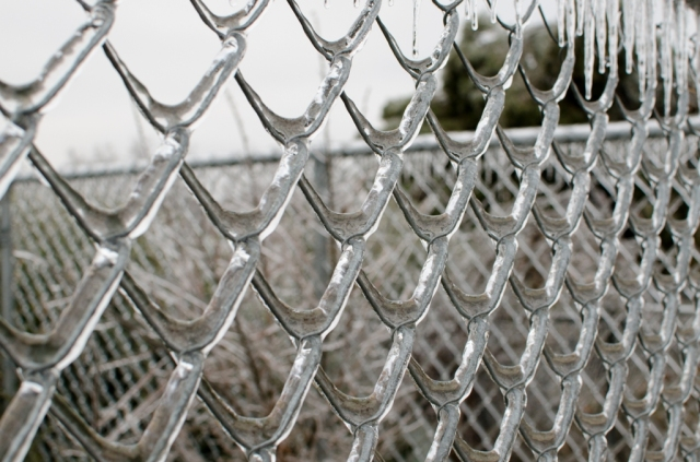 Ice accumulated on chain link